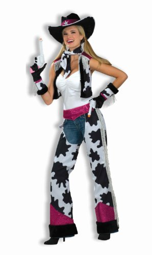 Cowgirl Costumes For Women (Forum Novelties Women's Glamour Cowgirl Costume, Black/White/Pink, Standard)