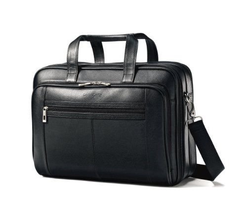 - Samsonite Leather Checkpoint Friendly Case, Black