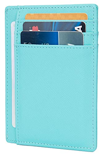 LinsCraft Leather RFID Blocking Minimalist Credit Card Holder Slim Pocket Wallets for Men Women, A Crosshatch Leather Sky Blue, Small