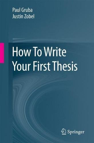 How To Write Your First Thesis Front Cover