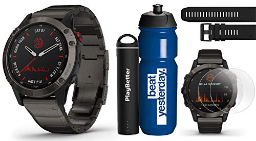 Garmin Fenix 6 Pro Solar (Titanium with Titanium Band) Runner's Bundle | +Garmin Water Bottle, Extra QuickFit Band, HD Screen Protectors & PlayBetter Charger | Solar Charging, PacePro & Music