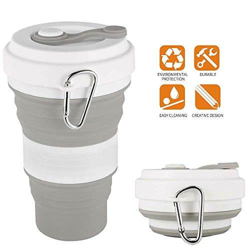 iGreely Silicone Collapsible Travel Cup Folding Cup/Mug Sport Bottle with Lids - Foldable & Portable & Lightweight Coffee Cup for Camping Hiking Outdoor & Office - BPA Free