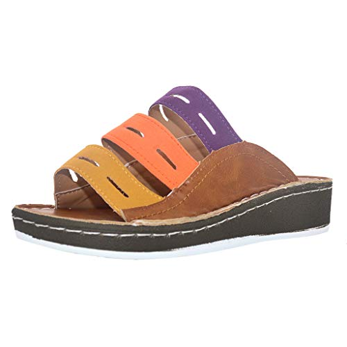 Earth Classic Shoes - HHei_K Women's Ladies Fashion Mixed Color Slip On Wedges Sandals Casual Slipper Shoes for Women Flats Comfortable Brown