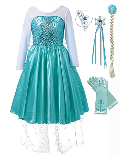 Little Princess Costume Blue Girl Halloween Dress Up for Cosplay Party (2-3 -
