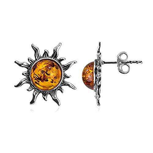 Amber Sun Silver Ring - Amber Sterling Silver Smal Sun Stud Earrings