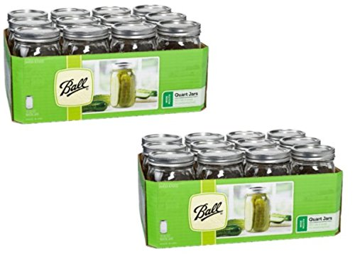 Ball Wide Mouth Quart Glass Jars 12 Pack | Freezer Safe (32 OZ - SET OF 2)