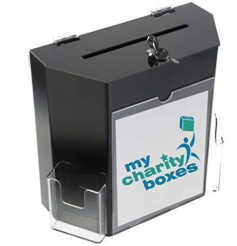 Charity Donation Acrylic Ballot Box w/ 8'' x 4'' Frame, Lock & 2 Pockets, Wall mounting or Tabletop
