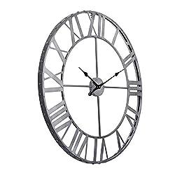 Utopia Alley Roman Rivet Edge Industrial Wall Clock, Pewter