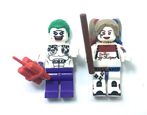 Harley Quinn and Joker from Batman Minifigures - Crazy Couple in Suicide Squad Movie (Dc Comics Red Hood Hat)