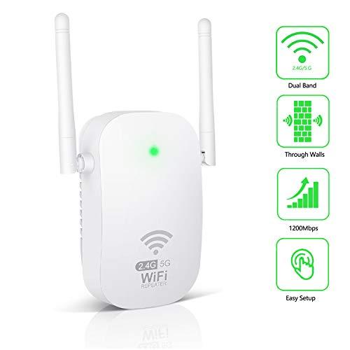 🥇 Kosiy WiFi Amplificador-Amplificador Señal WiFi 1200Mbps Repetidor WiFi Doble Banda 2.4G & 5G Amplificador WiFi con Antenas integradas de Puerto LAN