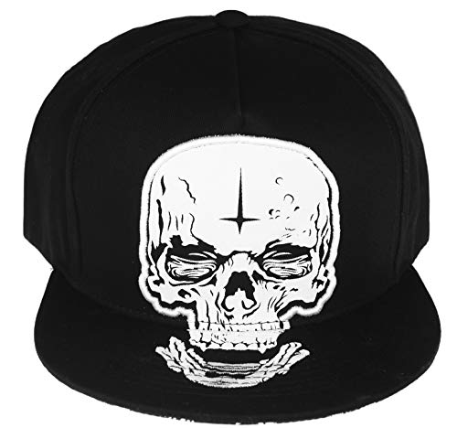(RufnTop Unique Embroidered, Patch Adjustable Flat Bill Baseball Punk Hat Snapback Cap(Skull 02 One Size))