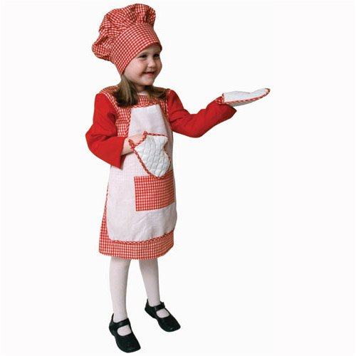 - Red Gingham Girl Chef Costume Set - Medium 8-10