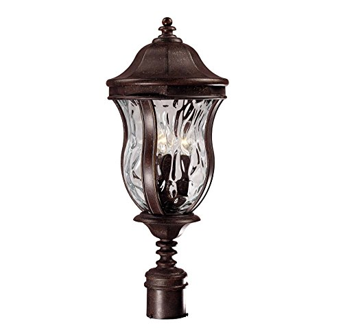 Savoy House Lighting KP-5-301-40 Monticello Collection 3-Light Outdoor Post Mount Lantern, Walnut Patina Finish with Clear Watered (Patina Outdoor Pier Mount)