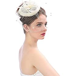 WensLTD Jewelry Wedding Party Hat,Fashion Women Fascinator Mesh Hat Ribbons And Feathers Wedding Party Hat (Beige-1)