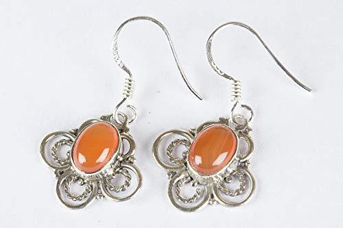Carnelian Earrings 925 Sterling Silver Orange Jewelry Floral Shape Earrings Long Earrings Oval Earrings Dangle Earrings Peaceful Earrings Outstanding Earrings Healing Earrings Hottest
