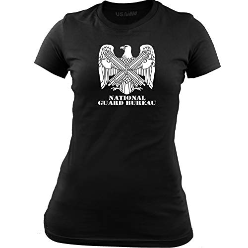 (Women's Army National Guard Bureau Branch Insignia T-Shirt (2XL, Black/White))