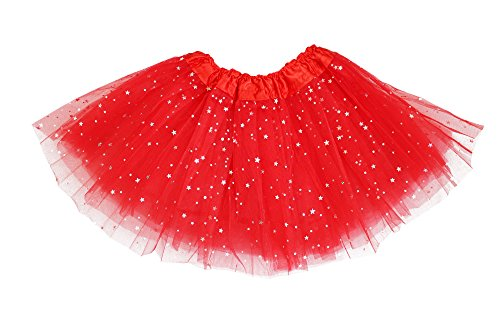 Girls Classic Elastic 3 Layered Tutu Ballet Soft Tulle Costume Skirt (2 - 9 Years, Glitter-Red) (Princess Running Outfits)