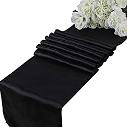 mds Pack of 10 Wedding 12 x 108 inch Satin Table Runner for Wedding Banquet Decoration- Black