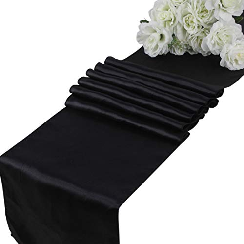 mds Pack of 10 Wedding 12 x 108 inch Satin Table Runner for Wedding Banquet Decoration- Black (Runner Black Table)