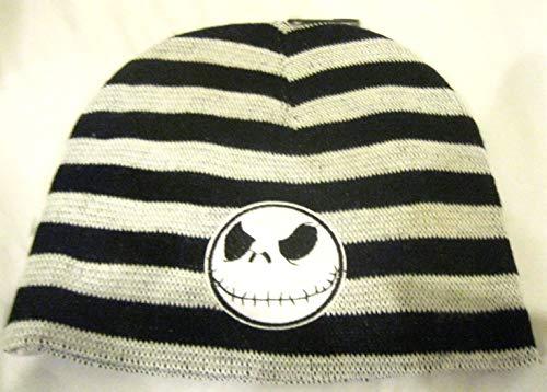 Granny Stripe - Disney Granny's (C) Black and Gray Stripes with White Jack Skellington Winter Knitted Skull Beanie Ski Cap-New!
