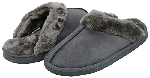 UltraIdeas Soft Unisex Warm Winter Plush Fur Suede Slip-Resistant Indoor & Outdoor Slippers (Size L /9-10 D(M) US, Gray)