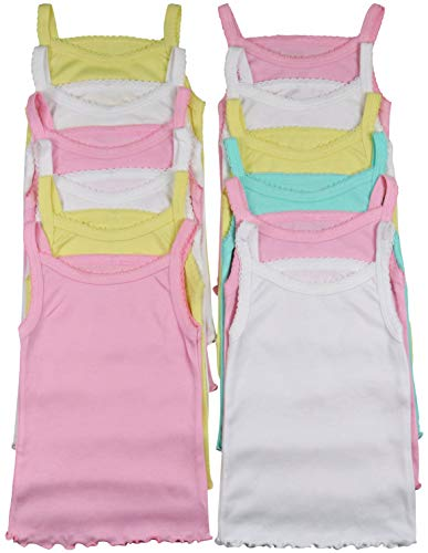 ToBeInStyle Girls' 4 Pack Ruffle Hem Spaghetti Strap Tops - Pastel - 0-3 Months