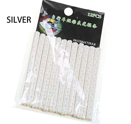 24pcs Waterproof Bicycle Spokes Reflectors Bike Wheel Tube Rim Colorful Reflective Spoke Clips Warning Stripe (White)