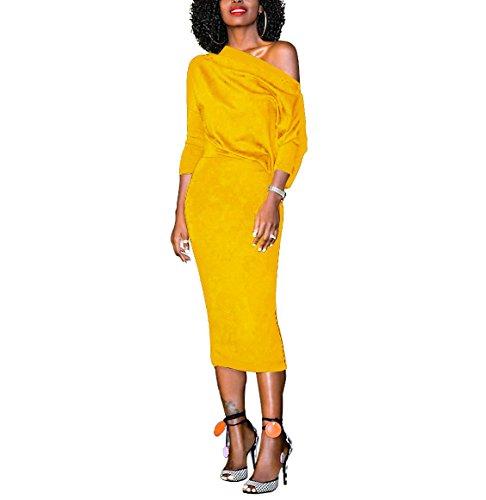 Women's Elegant Solid Half Sleeve One Shoulder Work Party Midi Bodycon Pencil Dress Yellow XXL
