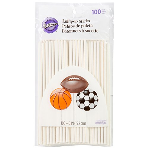 Wilton White 6-Inch Lollipop Sticks, 100-Count (Mini Soccer Cake Topper)