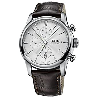 fd065c092 Image Unavailable. Image not available for. Color: Oris Artelier  Chronograph Silver Dial Brown Leather Mens Watch 774-7686-4051LS