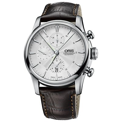 Oris Artelier Chronograph Silver Dial Brown Leather Mens Watch 774-7686-4051LS