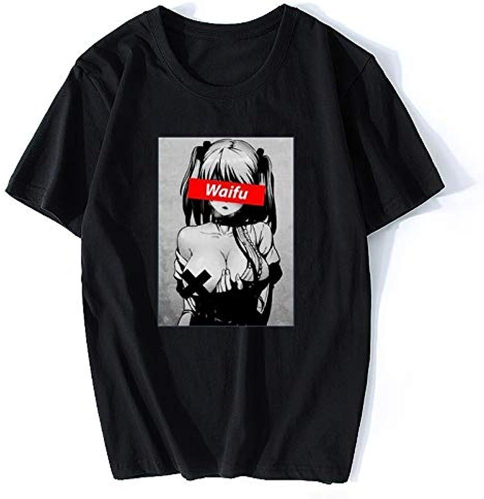 Waifu Material Shirt Otaku Hentai Cute Girl Anime Ahegao T Shirt for Men Streetwear T Shirt Solid Color Short Sleeve: Amazon.es: Ropa y accesorios