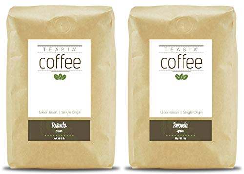 Teasia Coffee, Rwanda, Unroasted Single Origin Fair Trade, Whole Green Coffee Beans, 5-Pound Bag (2-Pack)