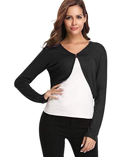 - Hawiton Women's Long Sleeve Bolero Open Front Cropped Cardigan Shrug Jackets Black