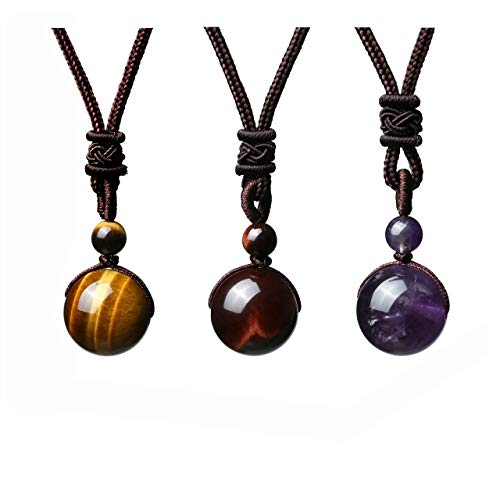 JOVIVI 3pcs Healing Crystals Necklace Natural Tiger Eye Amethyst Lucky Blessing Protection Chakra Beads Stone Pendant for Women Men Adjustable