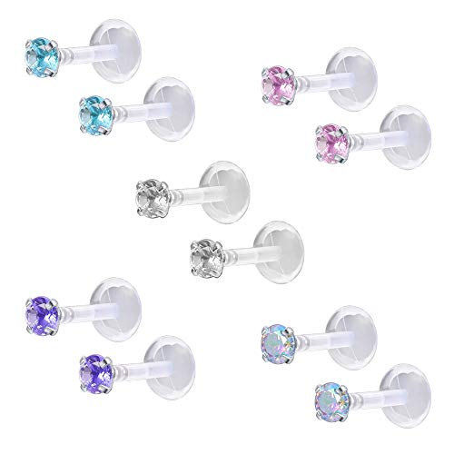 ZS 10-12Pcs 16G Clear Bioflex CZ Stone Labret Monroe Lip Ring Helix Tragus Cartilage Earrings Stud Piercing (10pcs (3mm cz))