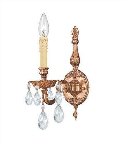 Novello Light 1 Sconce (Crystorama 2501-OB-CL-SAQ Crystal Accents One Light Sconces from Novella collection in Brassfinish, 8.50 inches)