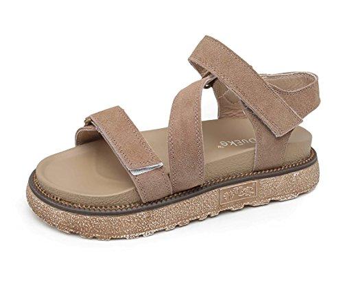Daim Rose Femme Velcro Noir Bout à Chaussures 35 Plateforme Talon Plates d'été 40 4cm Kaki Romaines Kaki lanières Sandales 42 Ouvert Slingback Sandale awrXa4