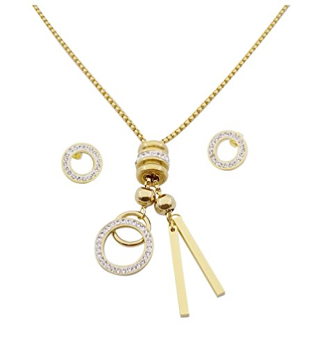 Think Positive Women's Stainless Steel Fashion Jewelry Sets Pendant Chain Necklace Stud Earrings Gold Plated (TPS236)
