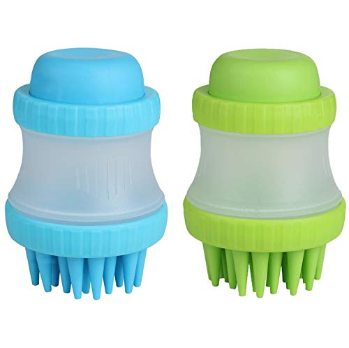 (NVTED 2PCS Pet Dog Cat Bath & Massage Brush, Pet Scrubber Shampoo Dispenser Silicone Brush Bristle Pet Cleaning Device Wahser Bathing Comb Tool)