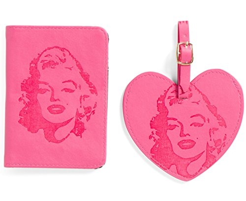 MARILYN MONROE Passport Case And Luggage Tag Set (Pink) (Marilyn Monroe Luggage)