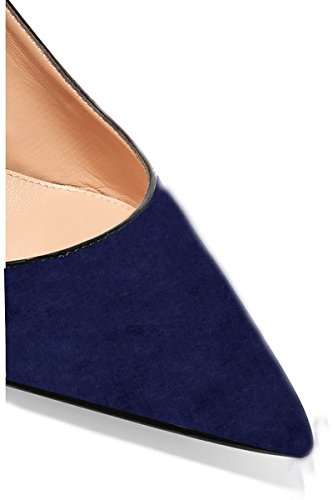 Sammitop Women's Pointed Toe Slingback Shoes Kitten Heel Pumps Comfortable Dress Shoes B07DFBV8H6 8.5 B(M) US|Suedenavy