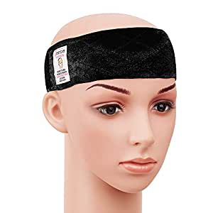 Dreamlover Elastic Wig Grip Headband, Adjustable Non Slip Velour Thin Wig Scarf Hat Grip Band, Black