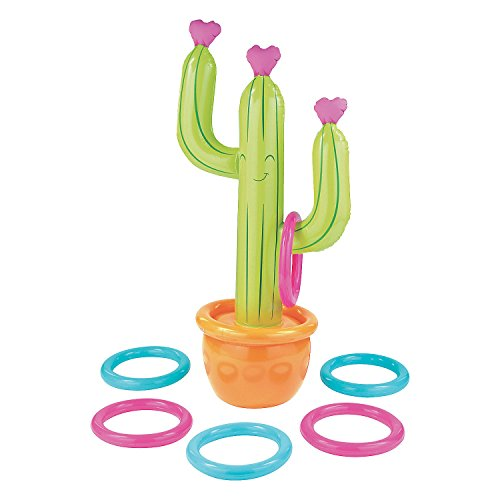 Fun Express - Cactus Inflate Ring Toss Game for Valentine's Day - Toys - Inflates - Inflatable Games - Valentine's Day - 7 Pieces ()