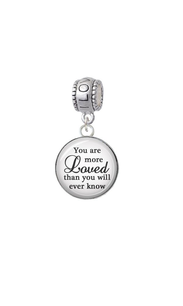 Silvertone Domed You are more Loved - I Love You Charm Bead