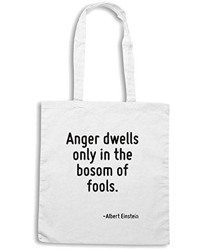 T-Shirtshock - Bolsa para la compra CIT0033 Anger dwells only in the bosom of fools. Blanco