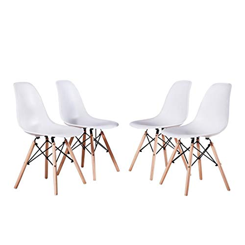 Artwell Eames Chairs Set of 4 Mid Century Modern White Dining Chair Side Chair Plastic Armless Chair with Beech Wood Legs Easy Assemble for Dining Room Living Room Bedroom Kitchen