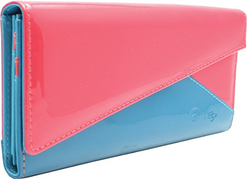 Femina Bright Triangle Clutch Wallet with a NutriChart (Dark Pink/Blue)