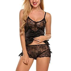 Avidlove Sexy Pajama Set for Women Lace Cami and Shorts Two Piece Satin Sleepwear