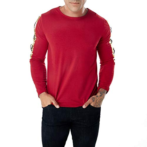 Usstore  Men's T-Shirt,Slim Fit Pollover Winter Top Long Sleeve Blouse Sweatshirt (Red, L) by Usstore